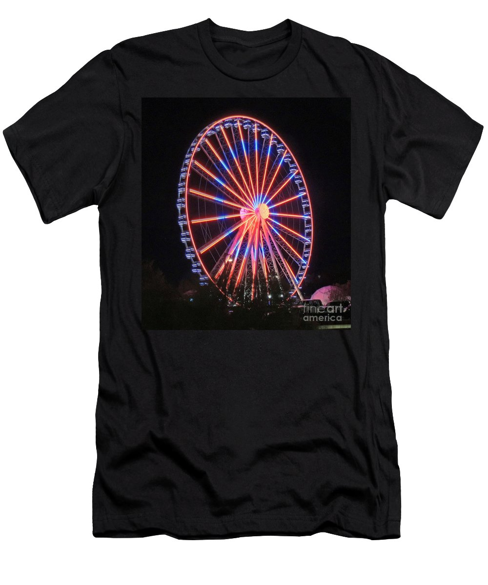 Photographic Print Men's T-Shirt (Athletic Fit) featuring the photograph Patriotic Ferris Wheel by Marian Bell