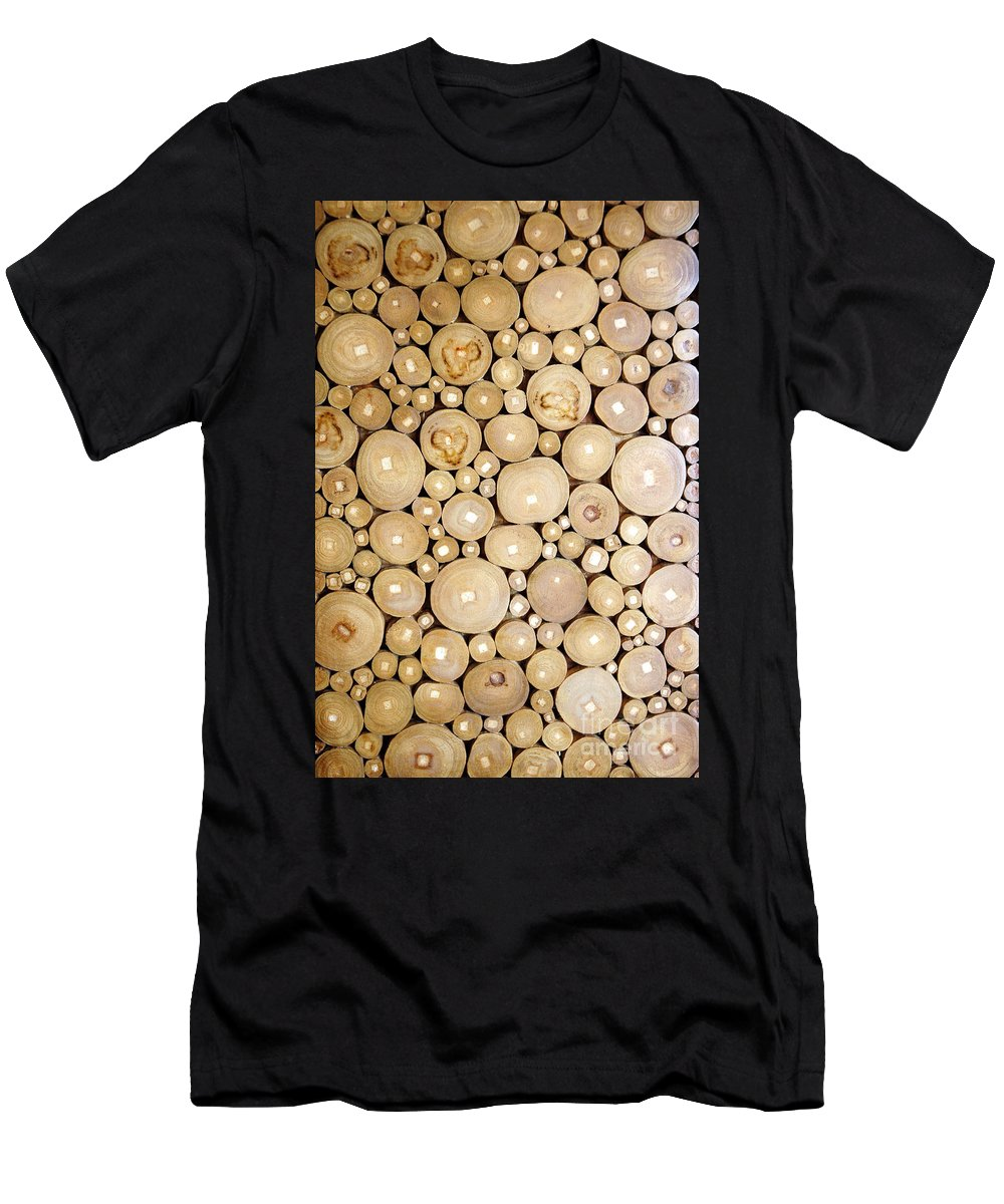 Pile Men's T-Shirt (Athletic Fit) featuring the photograph Pattern Of The Wood Pieces by Antoni Halim