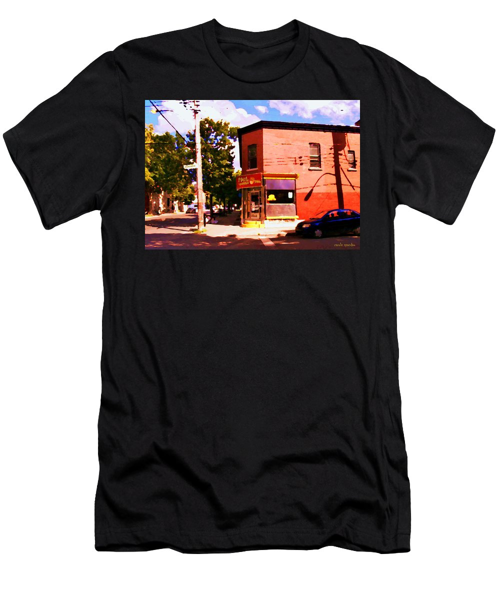 Men's T-Shirt (Athletic Fit) featuring the painting Paul Patate Pointe St Charles South West Montreal Autumn Street Scene Carole Spandau by Carole Spandau