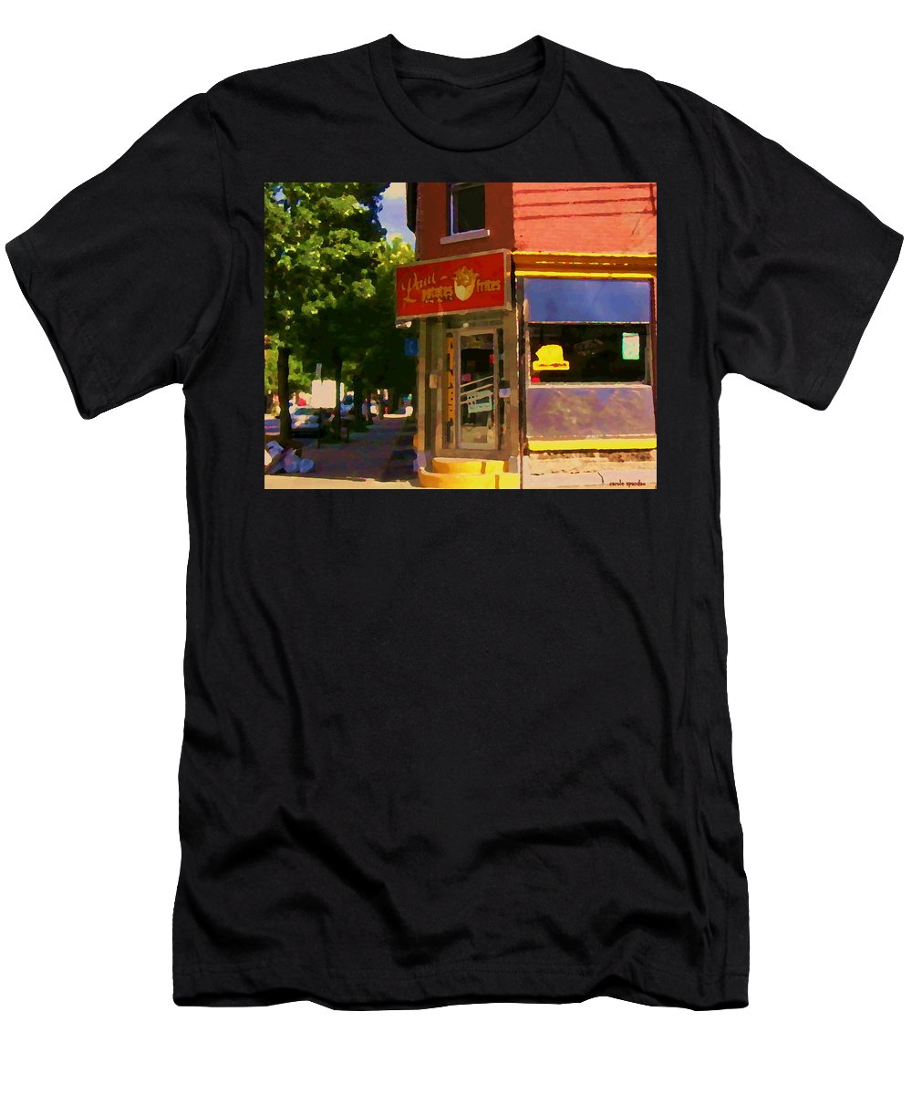 Paul Patate Diner Men's T-Shirt (Athletic Fit) featuring the painting Paul Patate Pte St Charles Rue Coleraine Et Charlevoix Scene De Rue Du Montreal Carole Spandau by Carole Spandau