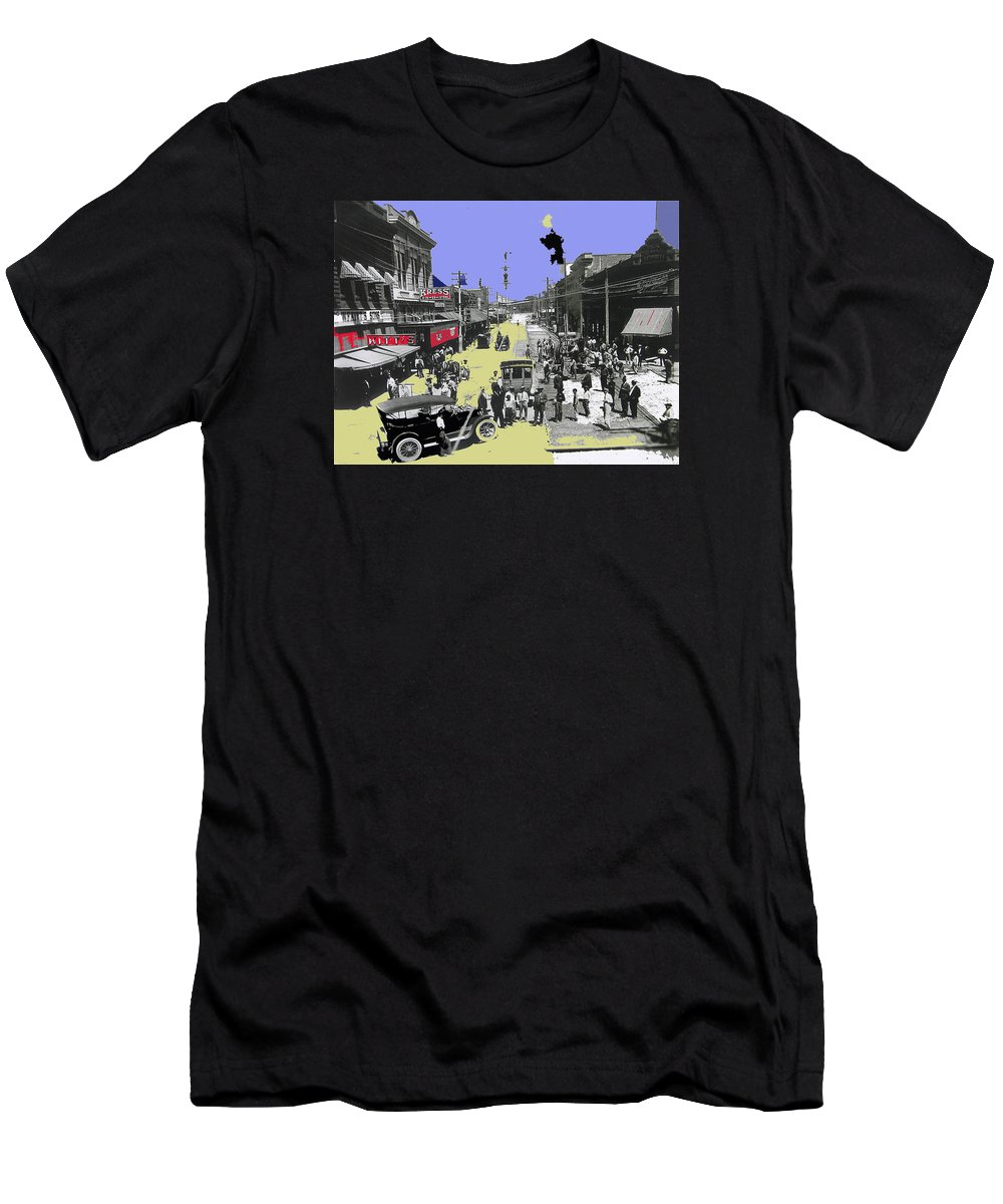 Paving East Congress In Tucson 1913 The Year Villa Visited Tucson Men's T-Shirt (Athletic Fit) featuring the photograph Paving East Congress In Tucson 1913 The Year Villa Visited Tucson by David Lee Guss