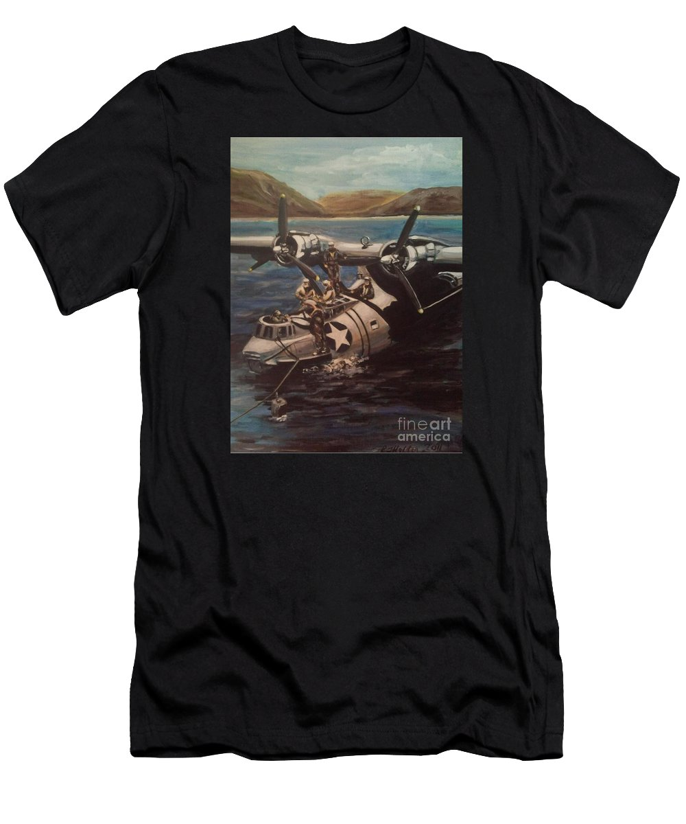 Us Navy Men's T-Shirt (Athletic Fit) featuring the painting Pby 5 Loading At Pearl Harbor by Richard John Holden RA