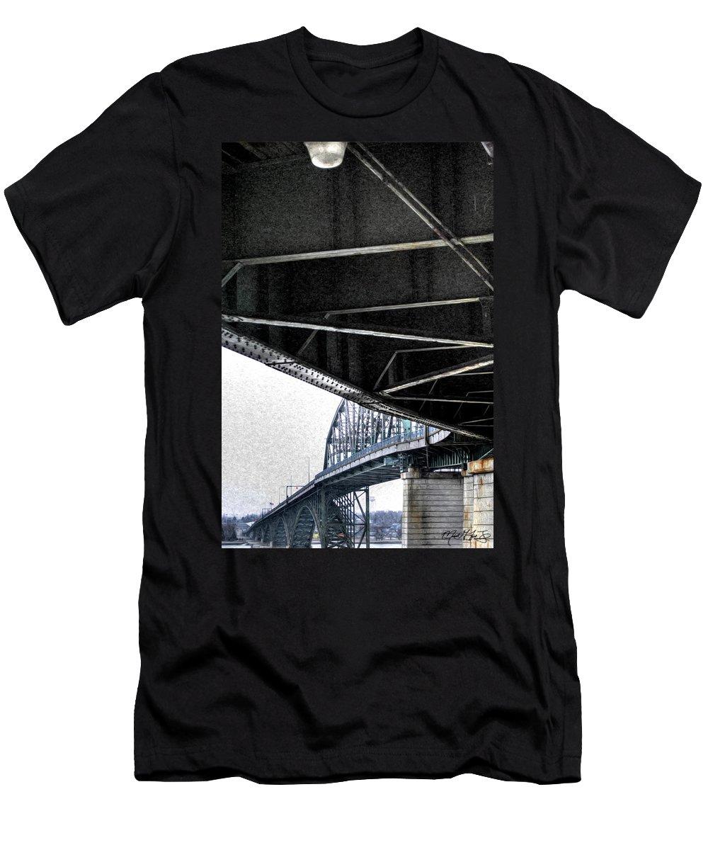 Peace Bridge Men's T-Shirt (Athletic Fit) featuring the photograph Peace Bridge 00e by Michael Frank Jr
