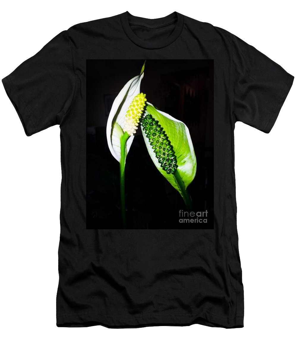 Flower Men's T-Shirt (Athletic Fit) featuring the photograph Peace Lilies by Donna Brown
