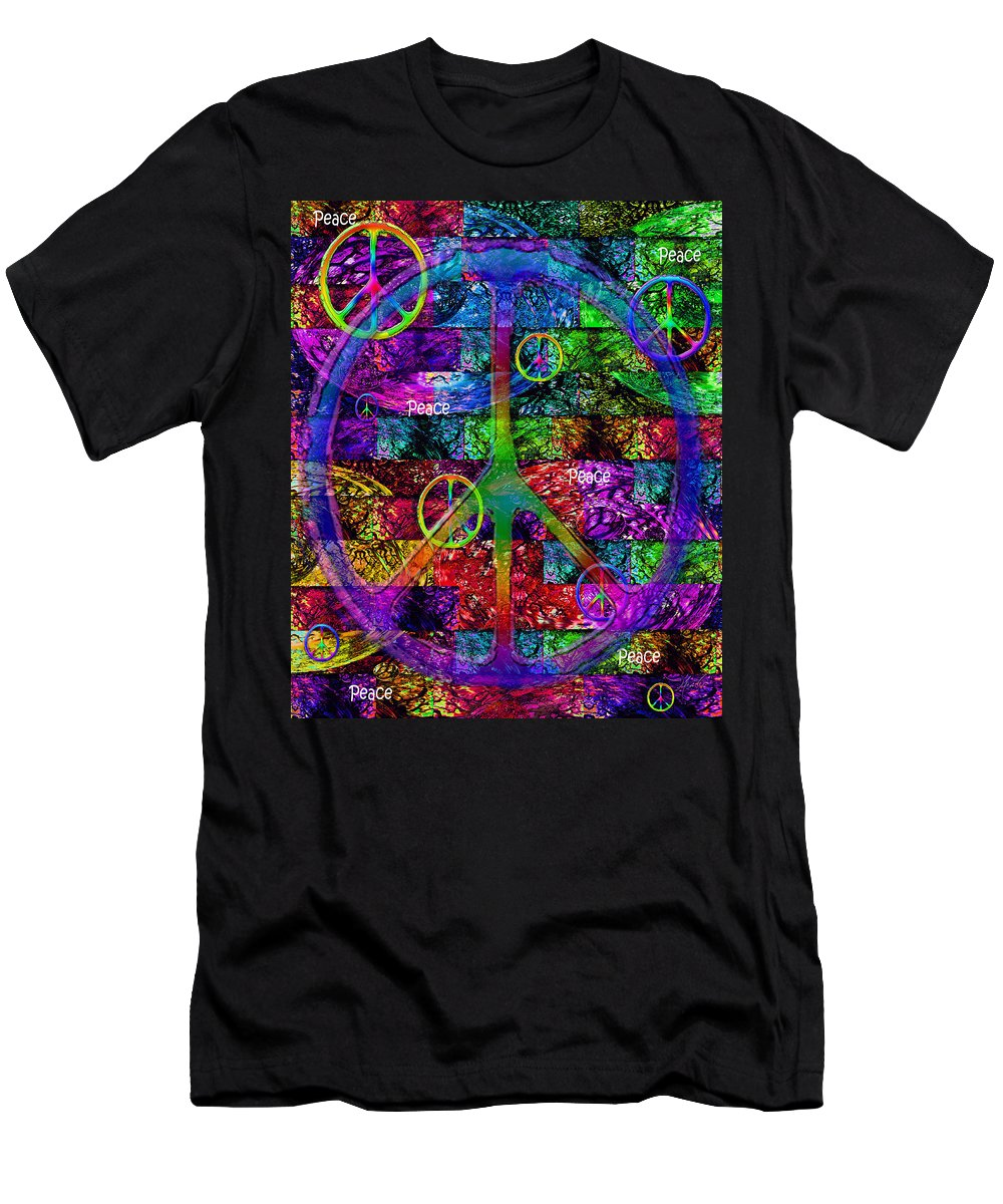 Peace Men's T-Shirt (Athletic Fit) featuring the digital art Peace Symbol Rainbow Flag by Michele Avanti