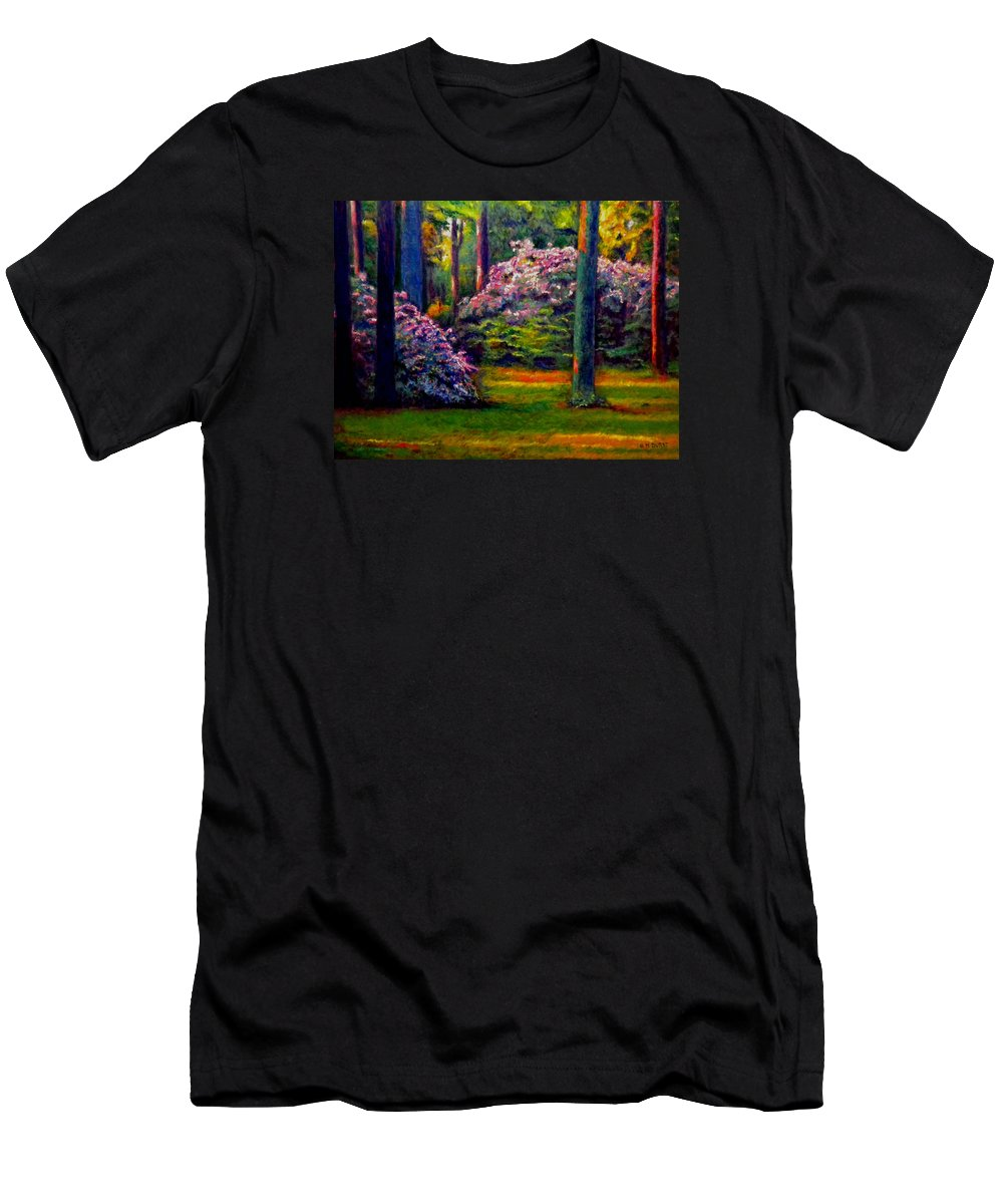 Forest Men's T-Shirt (Athletic Fit) featuring the painting Peaceful Morning by Michael Durst