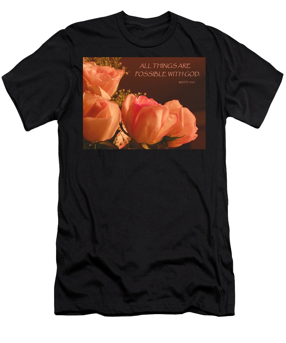 Roses Men's T-Shirt (Athletic Fit) featuring the photograph Peach Roses With Scripture by Sandi OReilly