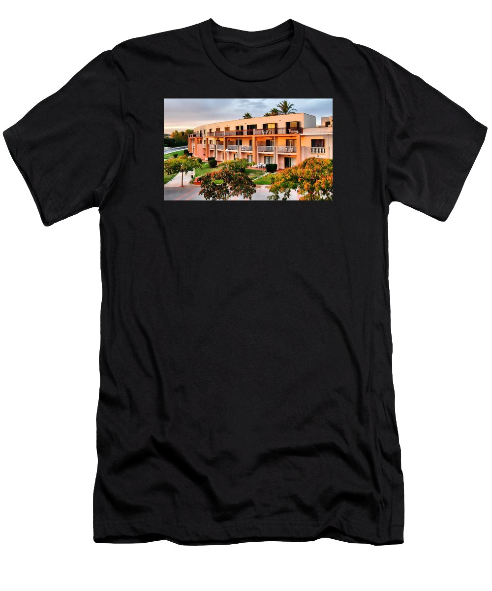Holiday Men's T-Shirt (Athletic Fit) featuring the photograph Peachy Apartments by John Lynch
