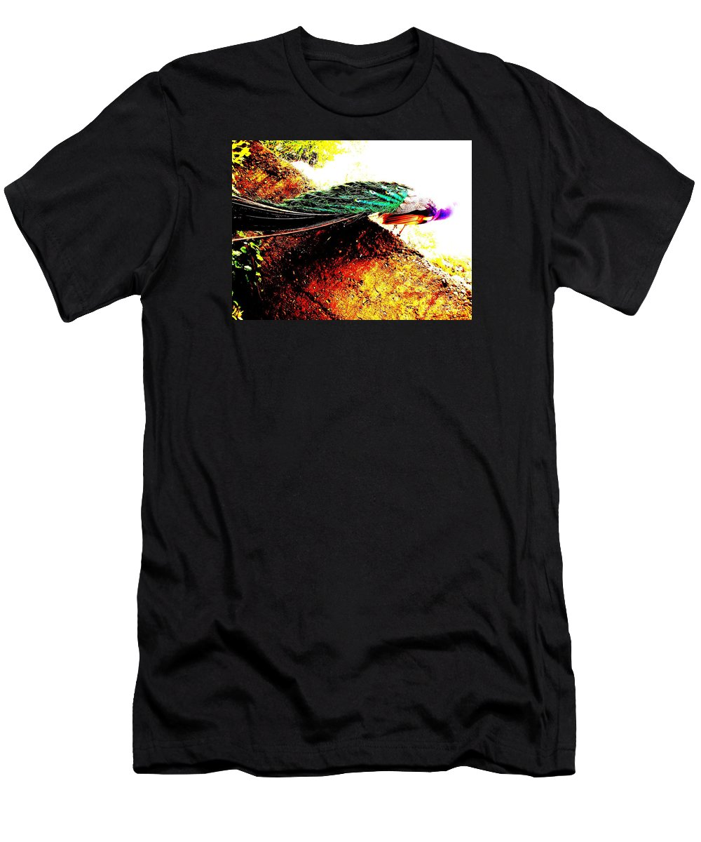 Bird Men's T-Shirt (Athletic Fit) featuring the photograph Peacock Tail by Vanessa Palomino
