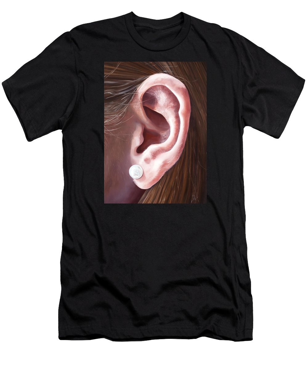 Men's T-Shirt (Athletic Fit) featuring the painting Pearl Earring by Kevin Aita