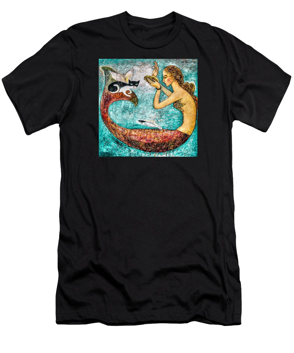 Mermaid Art Men's T-Shirt (Athletic Fit) featuring the painting Pearl by Shijun Munns