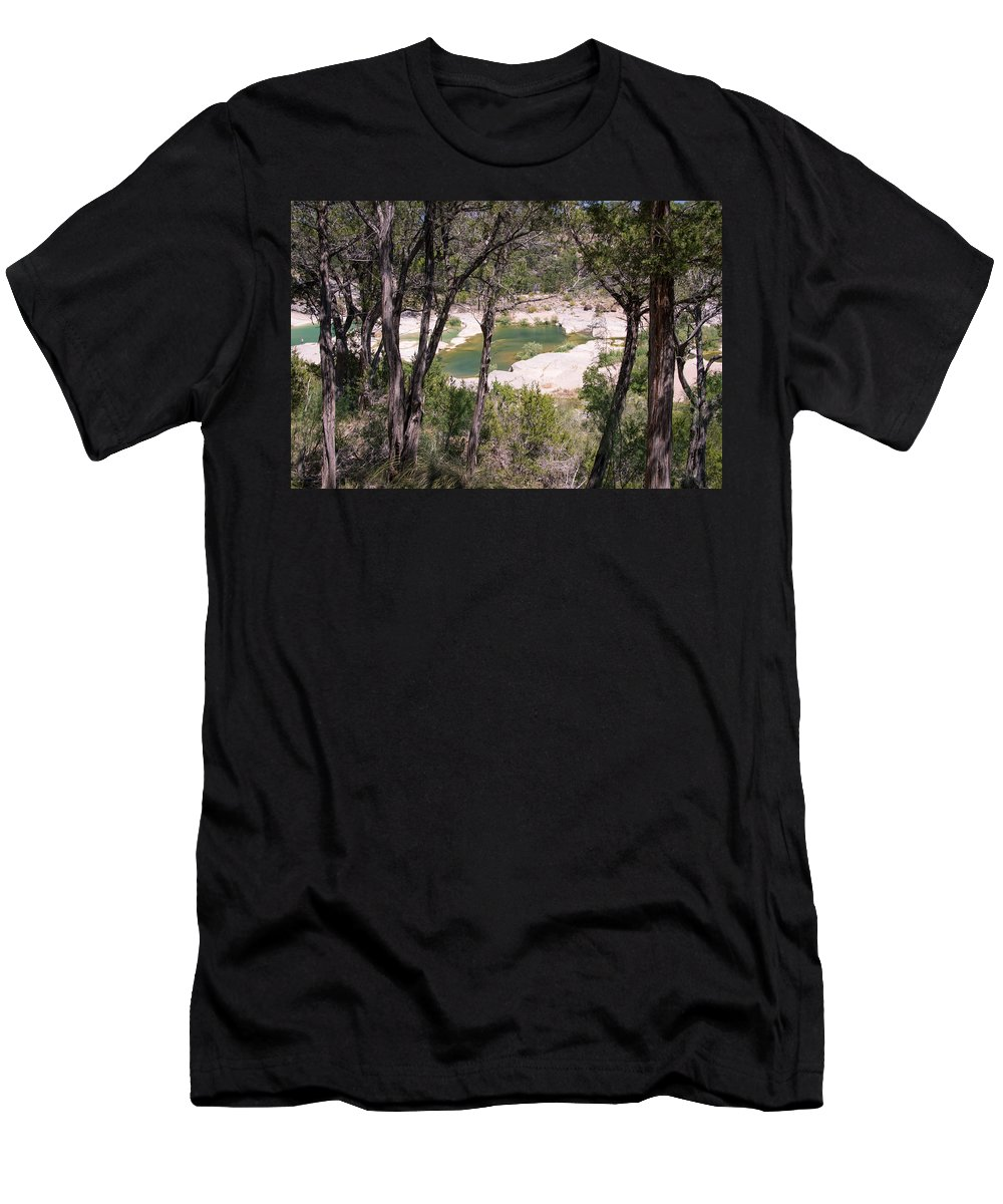 Pedernales Men's T-Shirt (Athletic Fit) featuring the photograph Pedernales River Pool In August by JG Thompson
