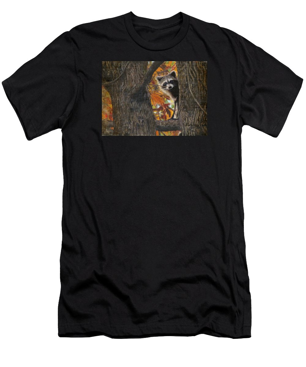 Raccoon Men's T-Shirt (Athletic Fit) featuring the painting Peeking Bandit by Sherryl Lapping