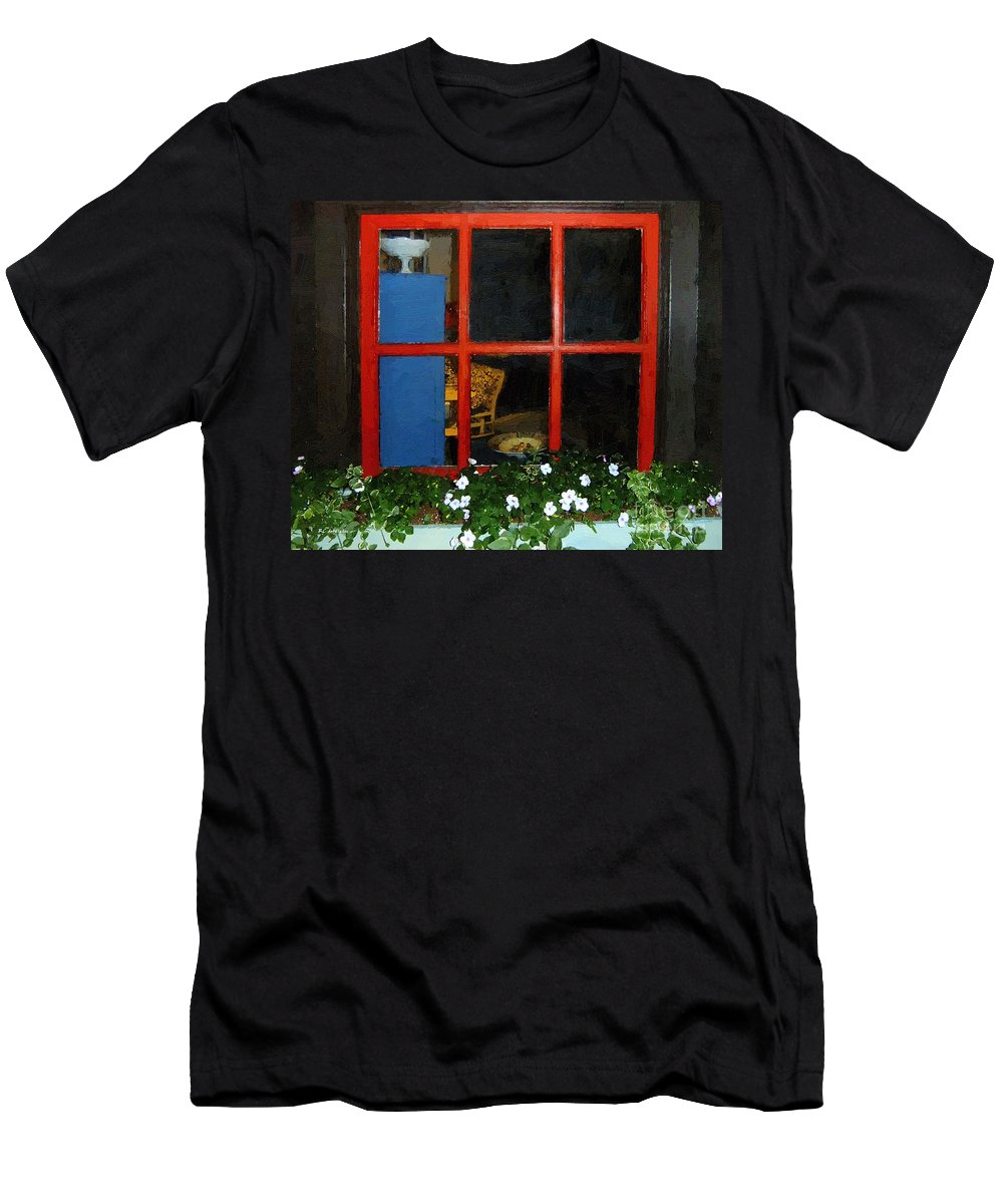 Window Men's T-Shirt (Athletic Fit) featuring the painting Peeking In by RC DeWinter