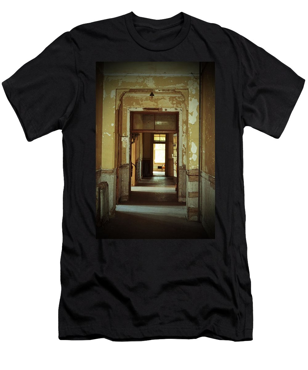 Hallway Men's T-Shirt (Athletic Fit) featuring the photograph Peeling Hallway by Holly Blunkall