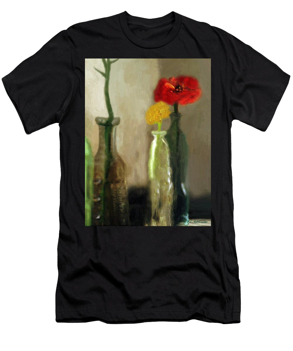 Bottles Men's T-Shirt (Athletic Fit) featuring the painting Peggy's Flowers by RC DeWinter