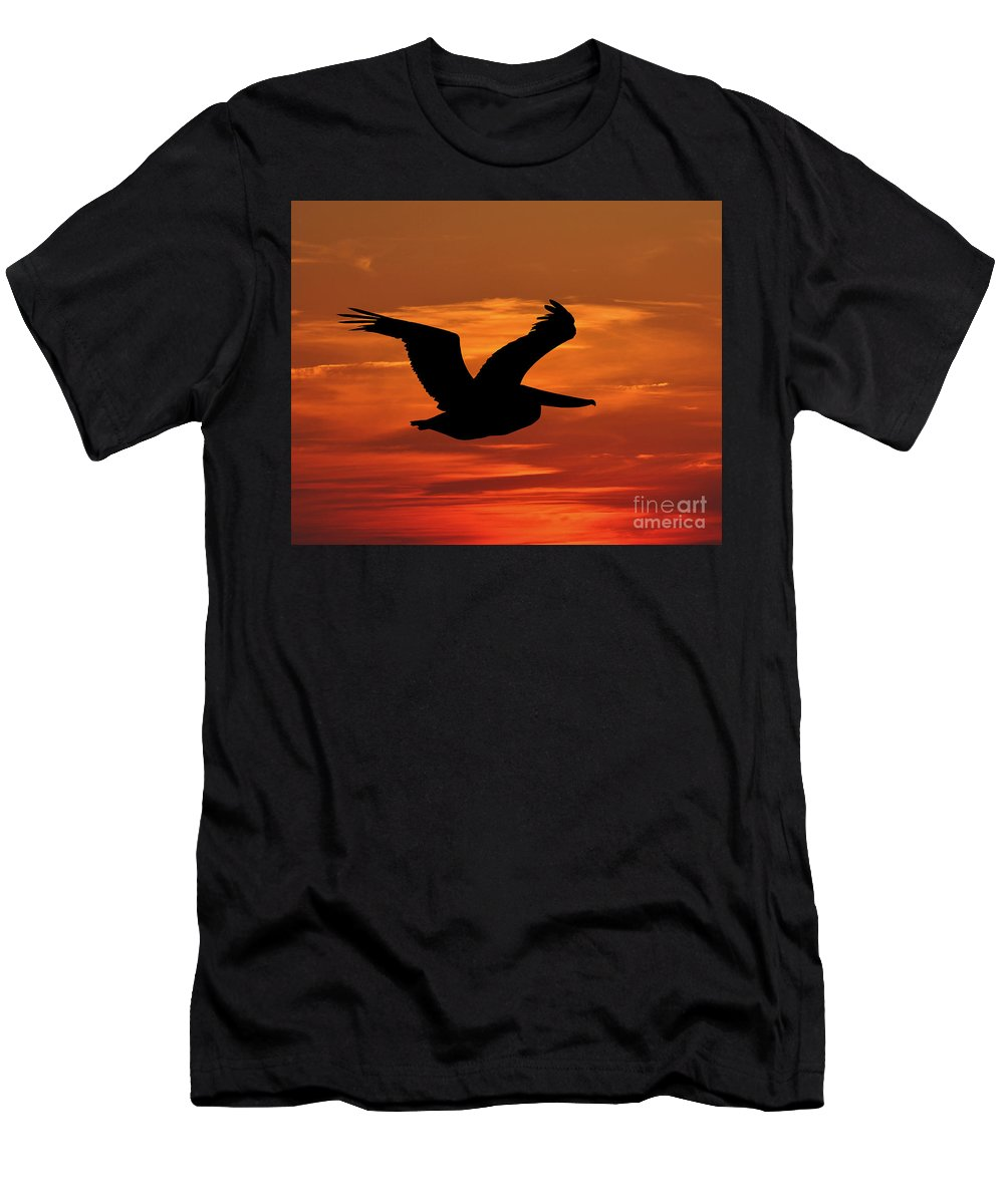 Pelican Silhouette Men's T-Shirt (Athletic Fit) featuring the photograph Pelican Profile by Al Powell Photography USA