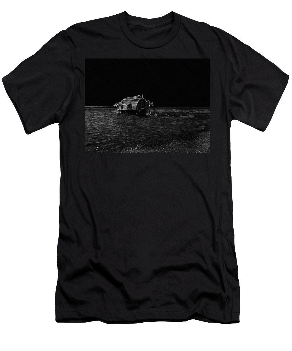 Backwater Men's T-Shirt (Athletic Fit) featuring the digital art Pencil - A Houseboat Moving Placidly Through A Coastal Lagoon In Alleppey by Ashish Agarwal