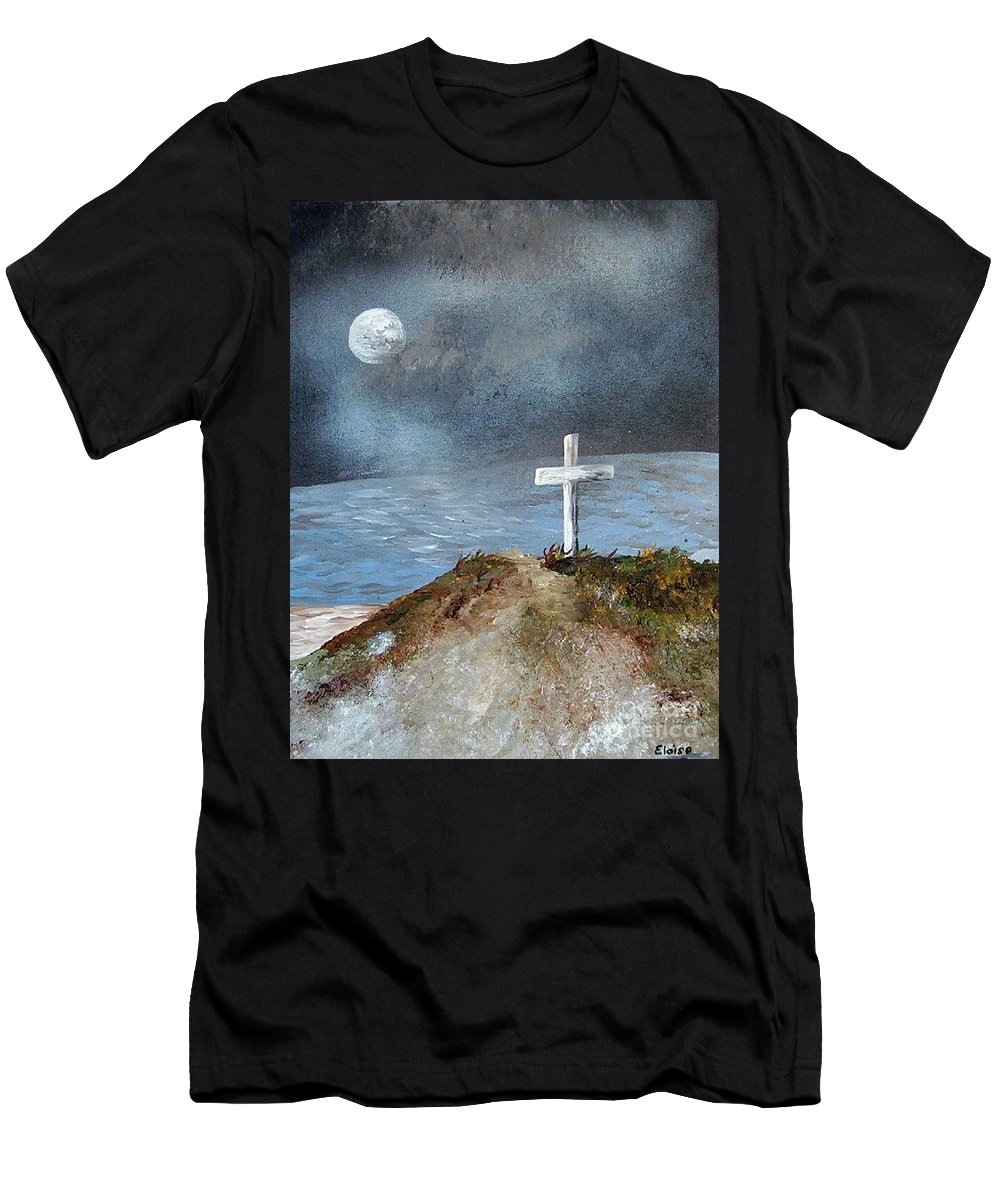 Cross Men's T-Shirt (Athletic Fit) featuring the painting Pensacola Beach By The Light Of The Moon by Eloise Schneider
