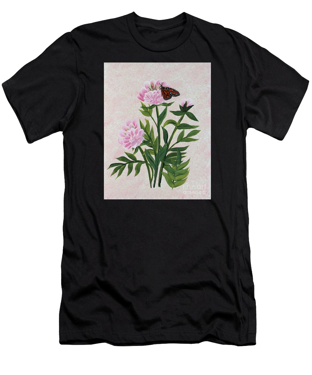 Barbara Griffin Men's T-Shirt (Athletic Fit) featuring the painting Peonies And Monarch Butterfly by Barbara Griffin