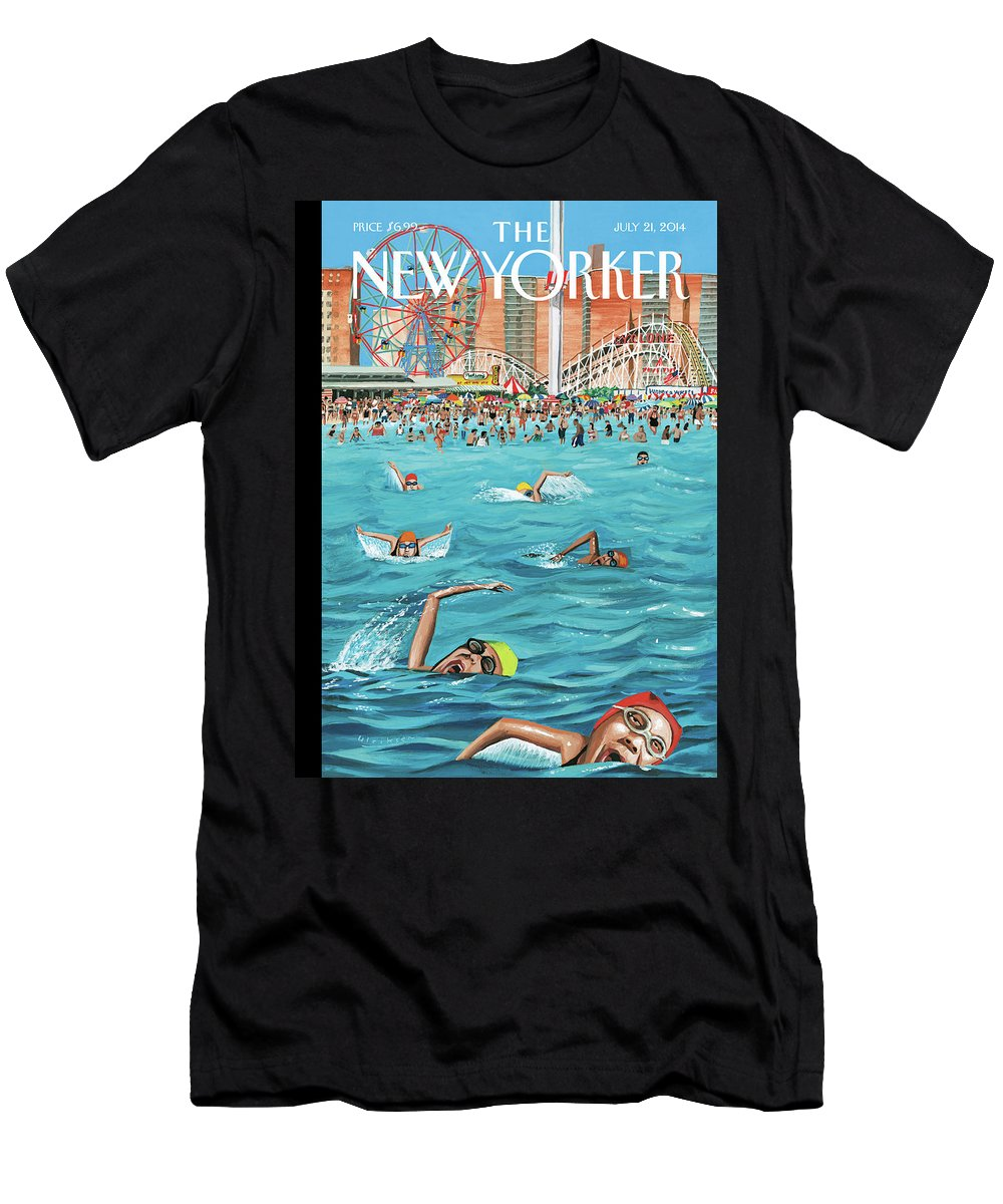 Beach Men's T-Shirt (Athletic Fit) featuring the painting Coney Island by Mark Ulriksen