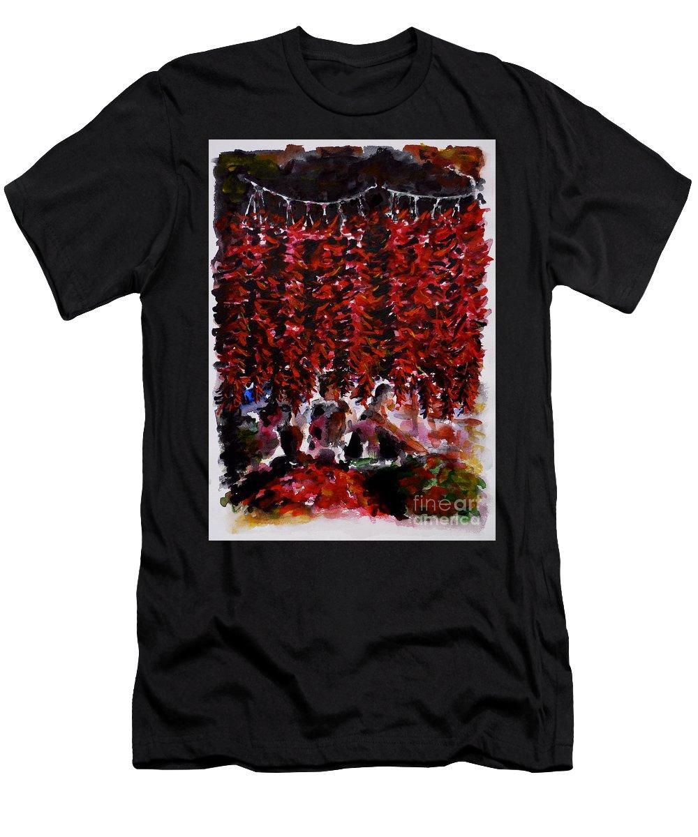 Pepper Men's T-Shirt (Athletic Fit) featuring the painting Pepper by Zaira Dzhaubaeva