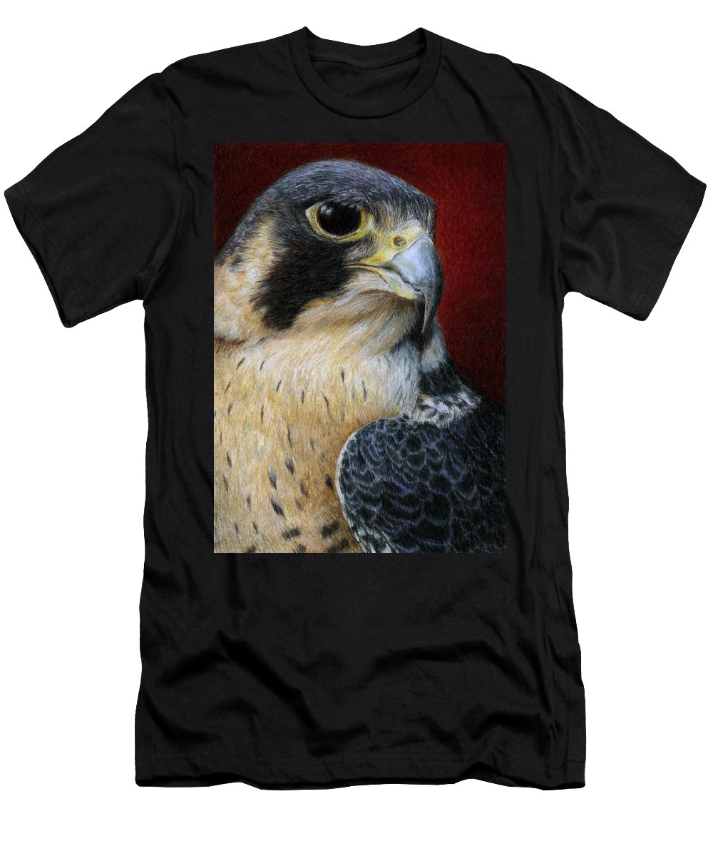 Peregrine Falcon Men's T-Shirt (Athletic Fit) featuring the painting Peregrine Falcon by Pat Erickson
