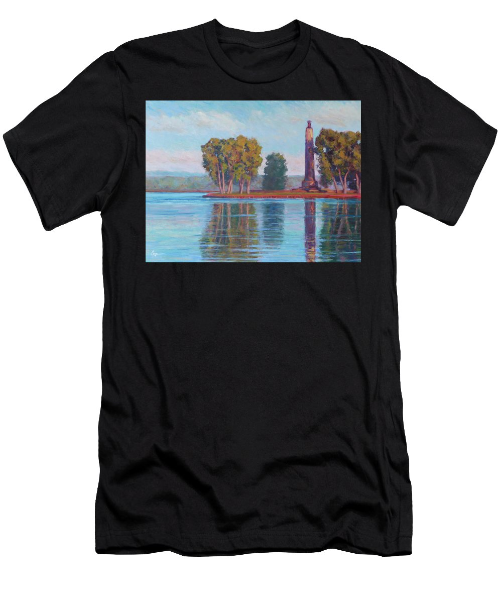 Perry Men's T-Shirt (Athletic Fit) featuring the painting Perry Monument by Michael Camp