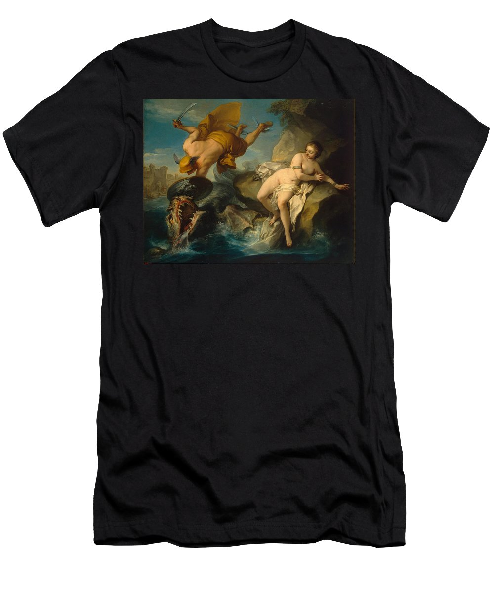 Charles-andre Van Loo Men's T-Shirt (Athletic Fit) featuring the painting Perseus And Andromeda by Charles-Andre van Loo