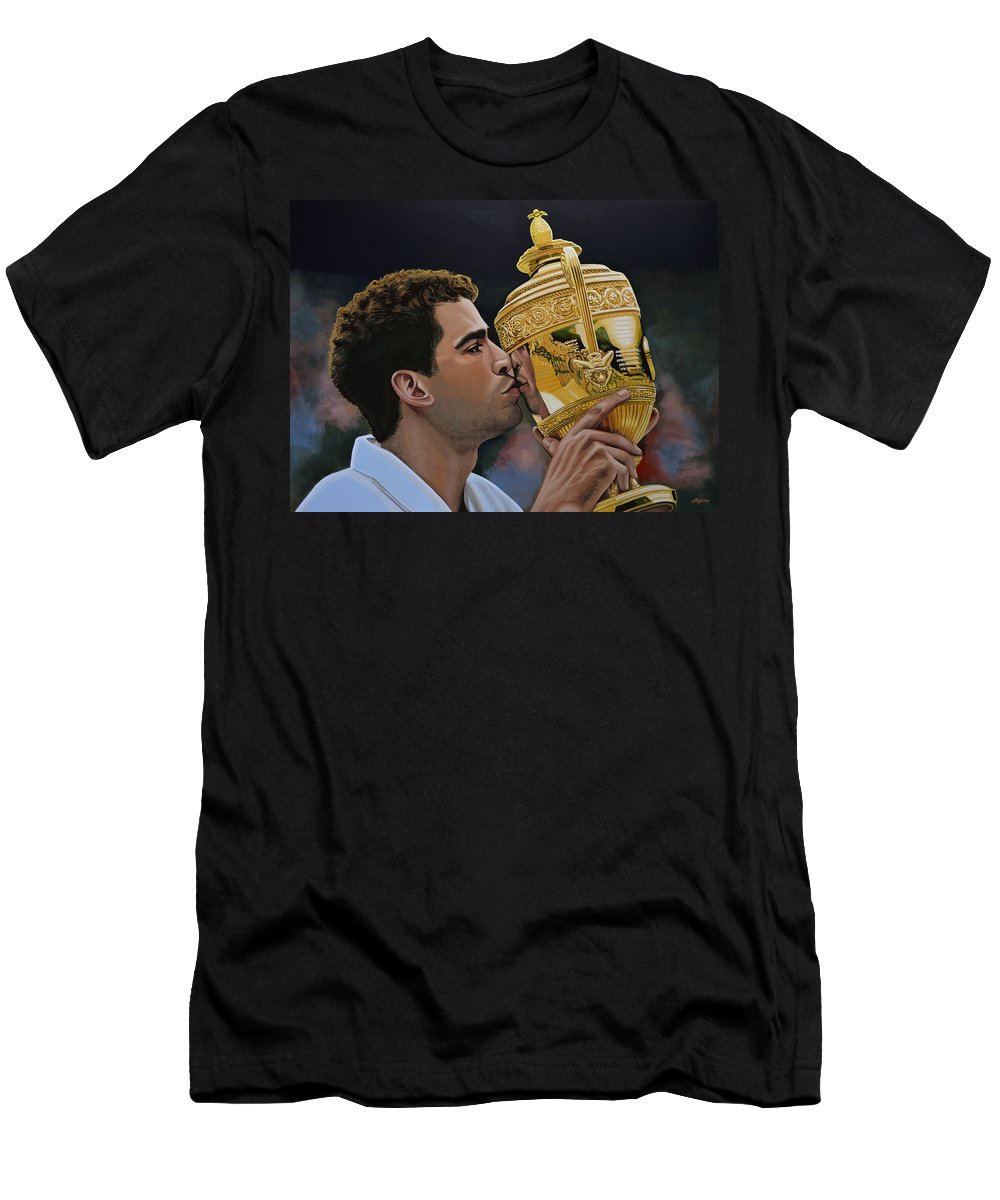 Pete Sampras Men's T-Shirt (Athletic Fit) featuring the painting Pete Sampras by Paul Meijering