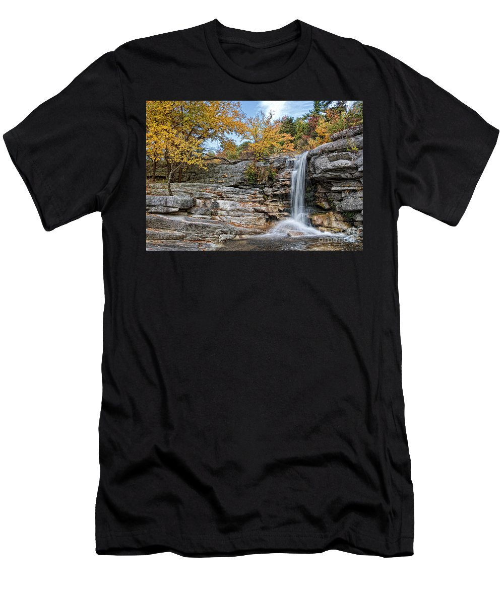 Waterfalls Men's T-Shirt (Athletic Fit) featuring the photograph Peterskill Falls by Claudia Kuhn
