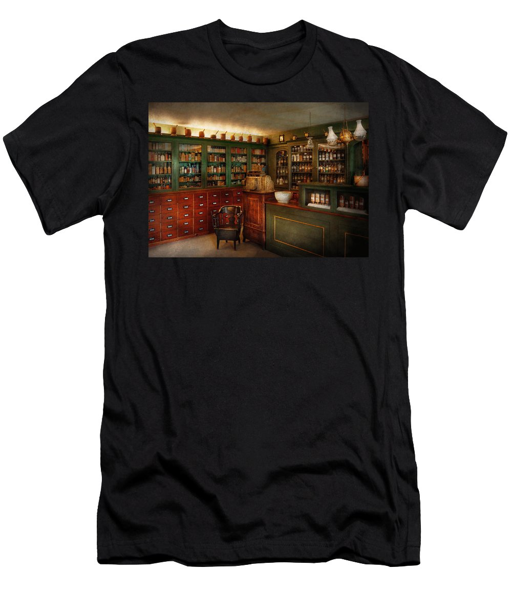 Pharmacy Men's T-Shirt (Athletic Fit) featuring the photograph Pharmacy - Patent Medicine by Mike Savad