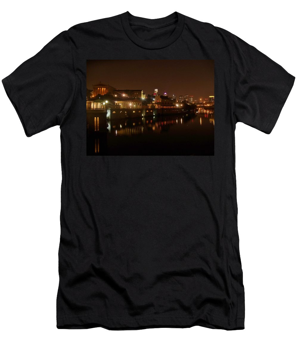 Philadelphia Men's T-Shirt (Athletic Fit) featuring the photograph Philadelphia From The Schuykill by Ed Sweeney