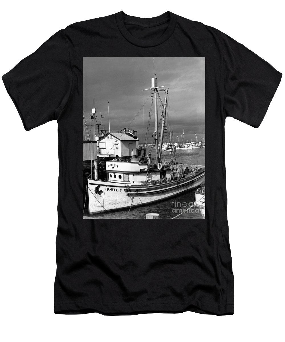 Phyllis Men's T-Shirt (Athletic Fit) featuring the photograph Phyllis Purse-seiner Monterey Wharf California Circa 1940 by California Views Archives Mr Pat Hathaway Archives