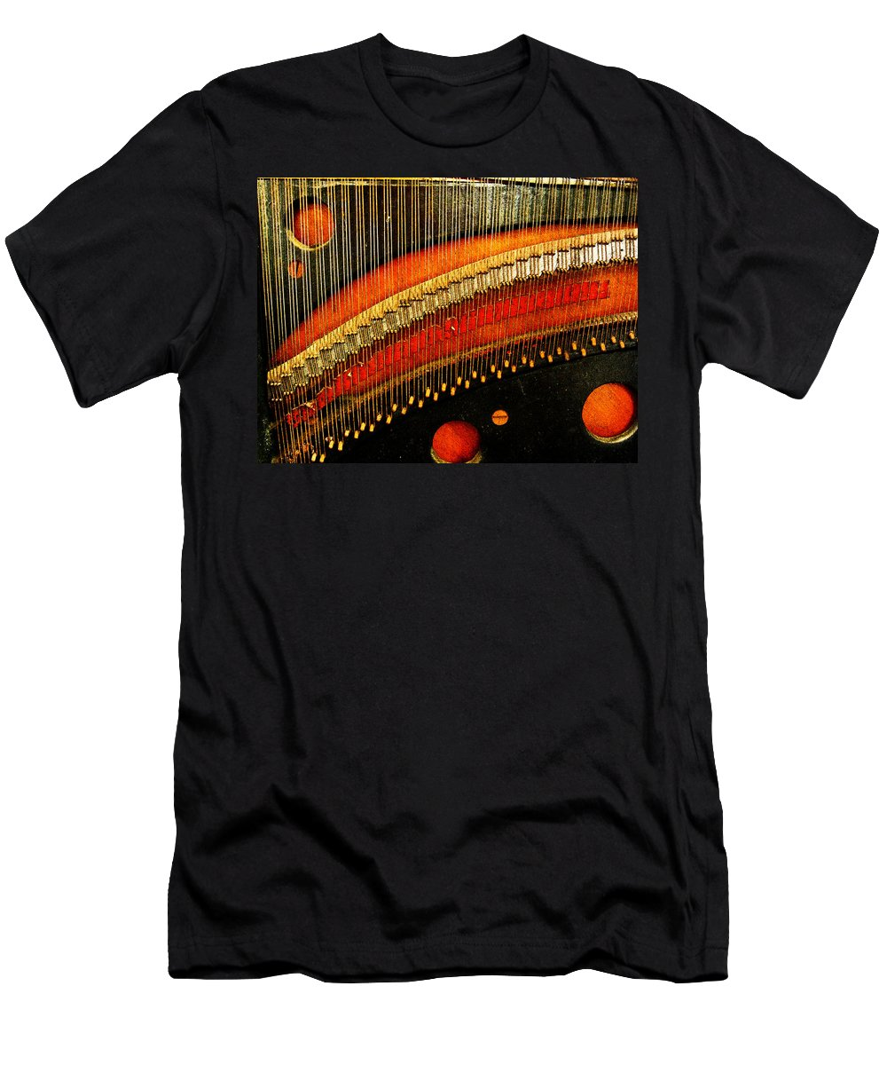 Piano Strings Men's T-Shirt (Athletic Fit) featuring the photograph Piano Strings by Randi Kuhne