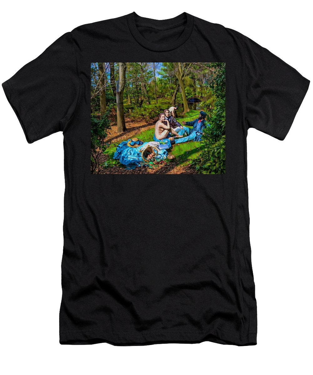 Manet Men's T-Shirt (Athletic Fit) featuring the photograph Picnic In The Nude by Bill Cannon