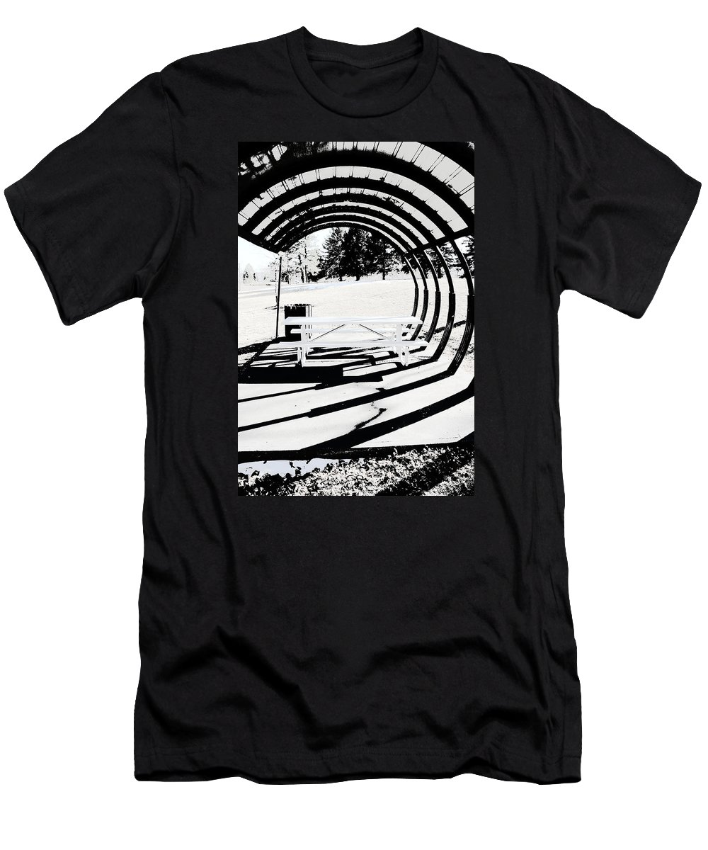 Park Bench Men's T-Shirt (Athletic Fit) featuring the photograph Picnic Table And Gazebo by Ric Bascobert