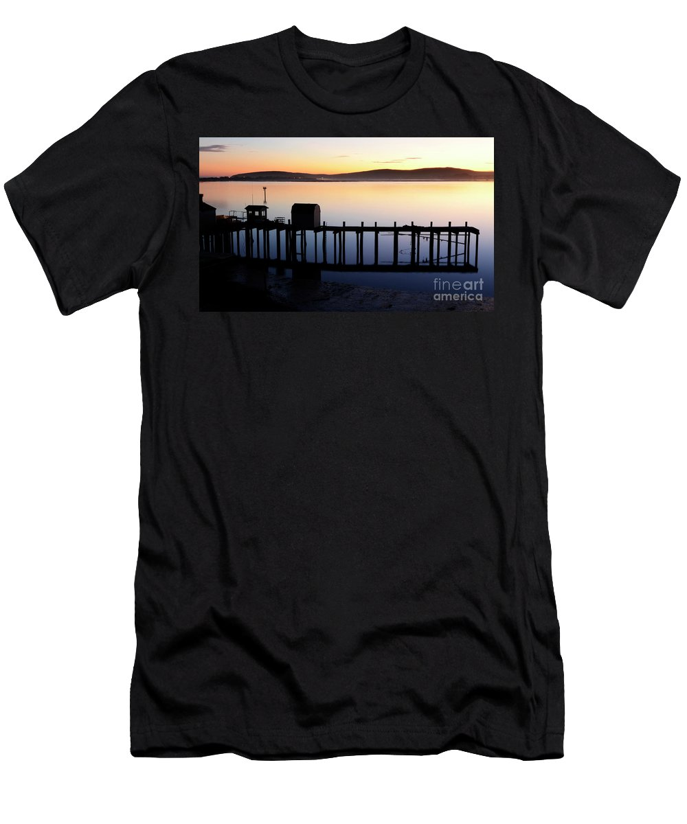California Men's T-Shirt (Athletic Fit) featuring the photograph Pier At Bodega Bay California by Bob Christopher