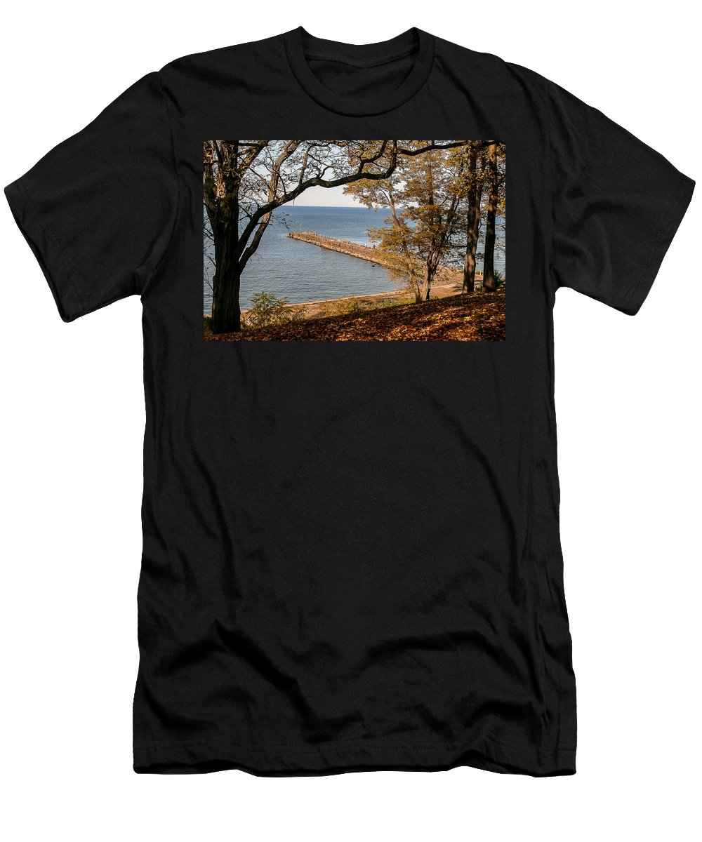 Fall Men's T-Shirt (Athletic Fit) featuring the photograph Pier In The Fall by Lou Cardinale