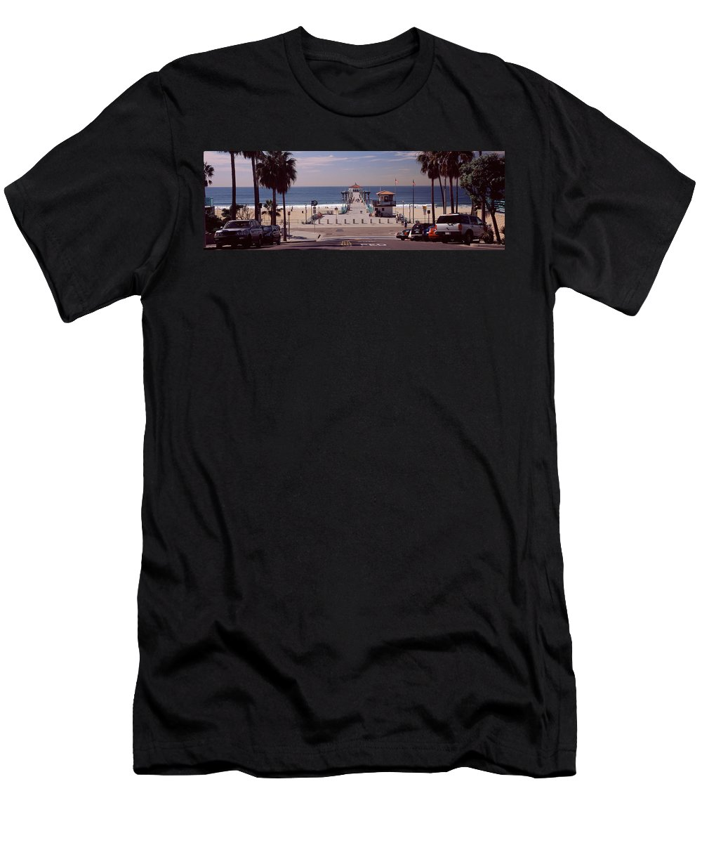 Photography Men's T-Shirt (Athletic Fit) featuring the photograph Pier Over An Ocean, Manhattan Beach by Panoramic Images
