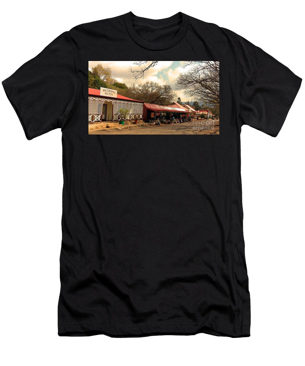 Pilgrim Men's T-Shirt (Athletic Fit) featuring the photograph Pilgrims Hotel And Stalls by Lisa Byrne