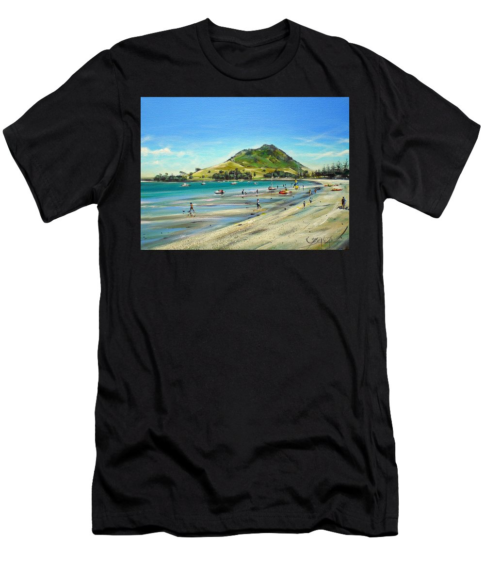 Beach Men's T-Shirt (Athletic Fit) featuring the painting Pilot Bay Mt M 050110 by Sylvia Kula