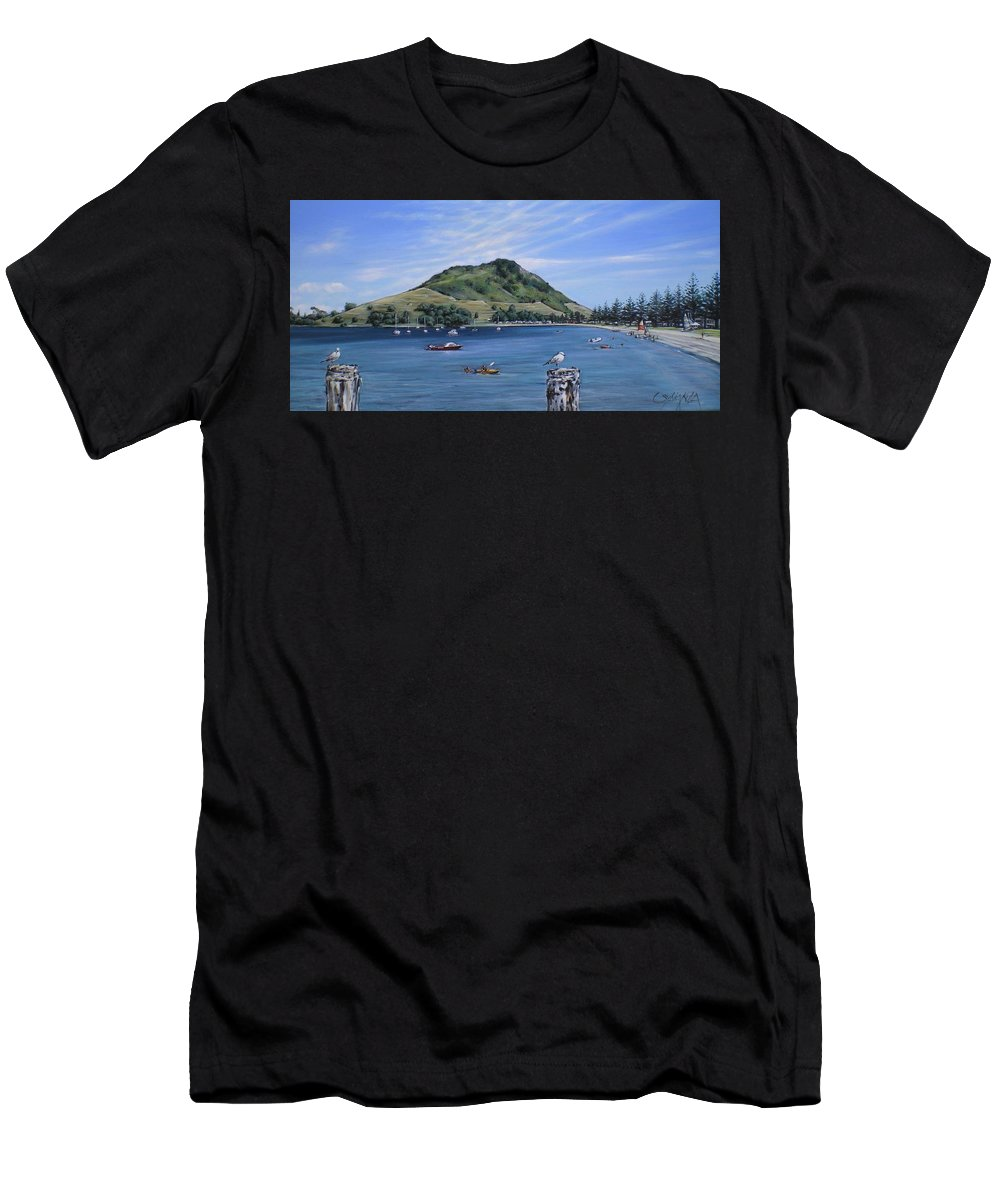 Beach Men's T-Shirt (Athletic Fit) featuring the painting Pilot Bay Mt M 291209 by Sylvia Kula