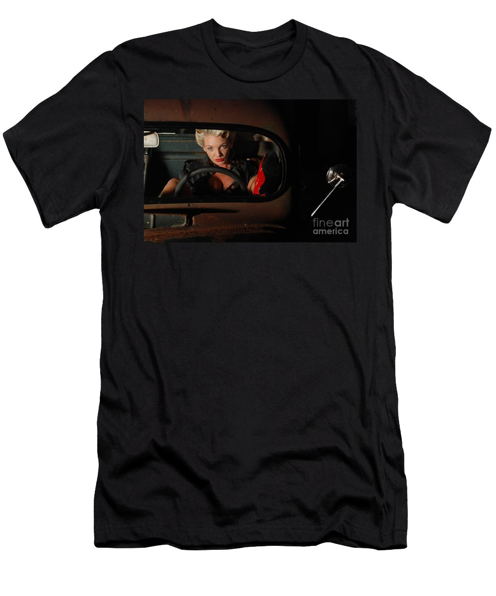 1930 Men's T-Shirt (Athletic Fit) featuring the photograph Pin Up Girl In A Classic Rat Rod Car by Jt PhotoDesign