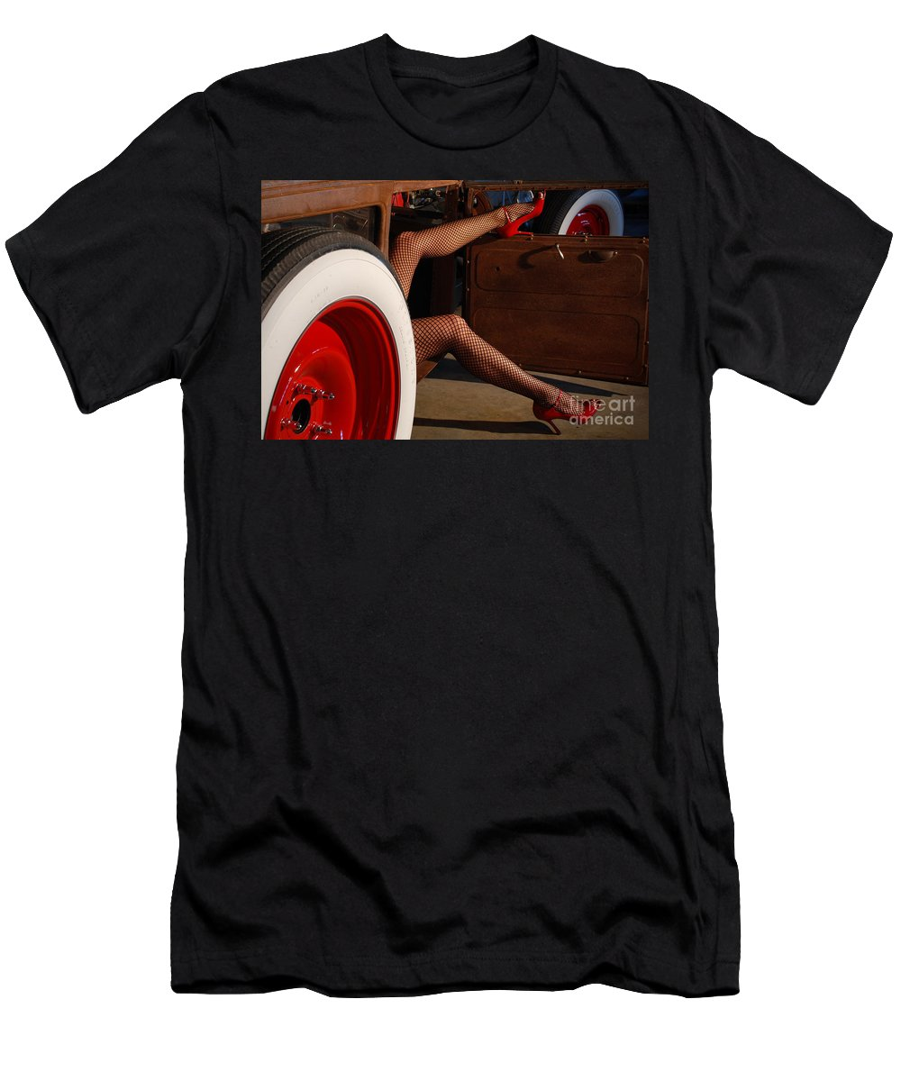 1930 Men's T-Shirt (Athletic Fit) featuring the photograph Pin Up Legs In Red Heels by Jt PhotoDesign
