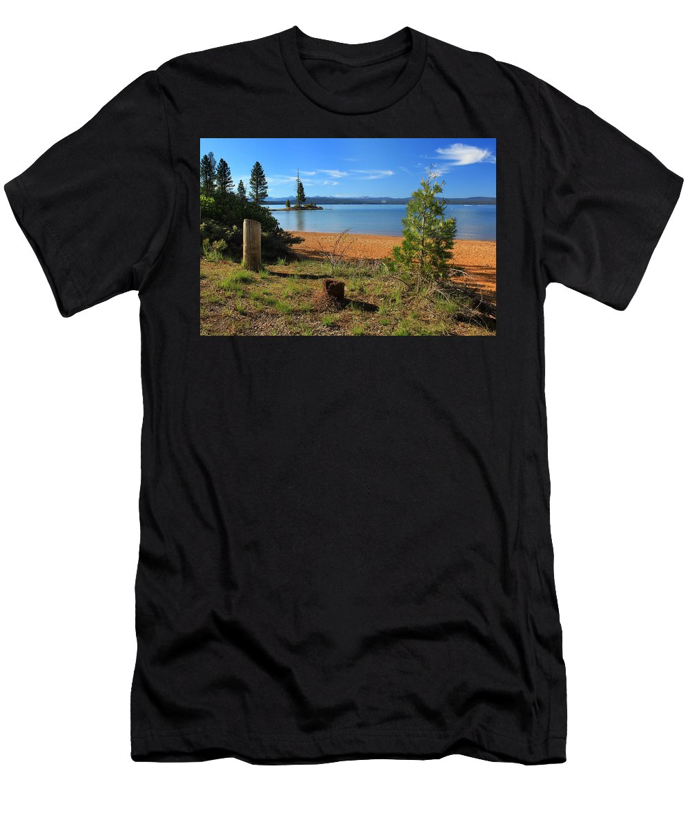 Lake Almanor Men's T-Shirt (Athletic Fit) featuring the photograph Pine Trees In Lake Almanor by James Eddy