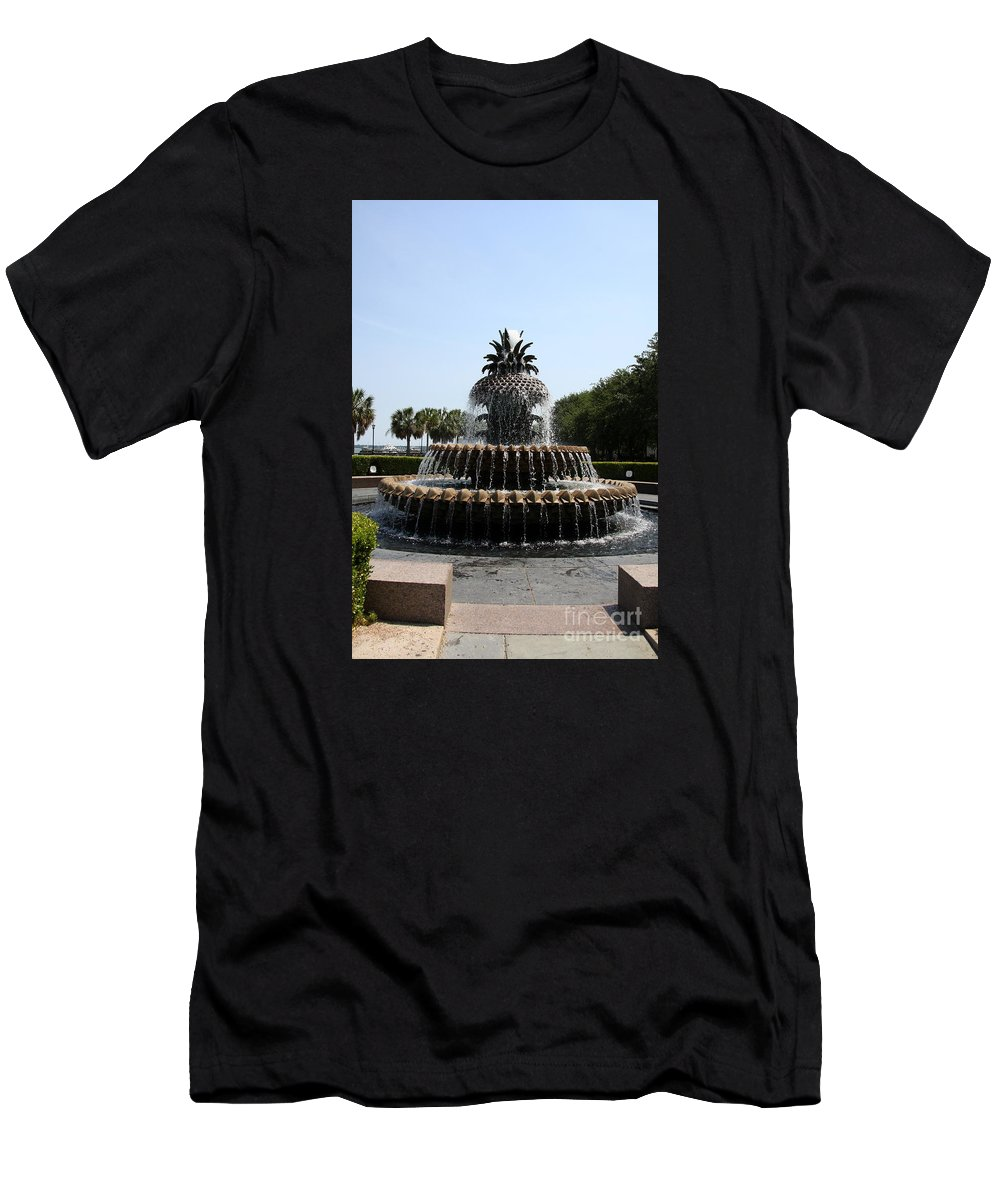 Fountain Men's T-Shirt (Athletic Fit) featuring the photograph Pineapple Fountain Charleston River Park by Christiane Schulze Art And Photography