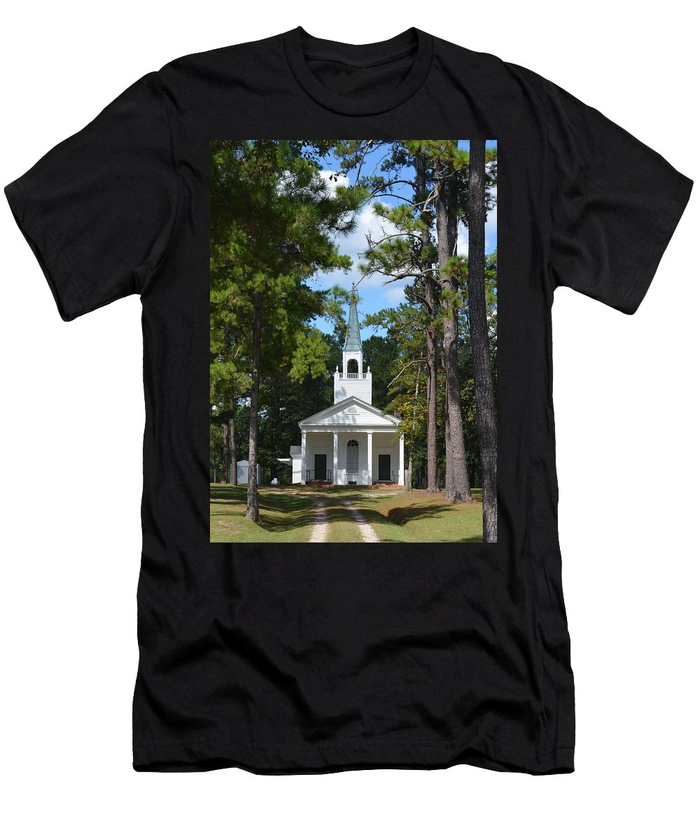 Church Men's T-Shirt (Athletic Fit) featuring the photograph Piney Grove Church by Carla Parris