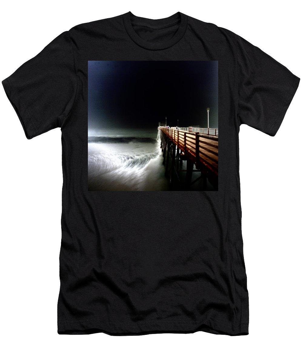 Pinhole Men's T-Shirt (Athletic Fit) featuring the photograph Pinhole Oceanside Pier by Hugh Smith