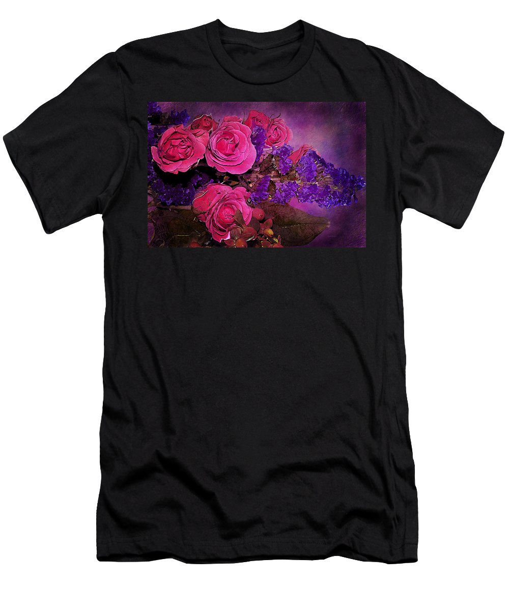 Flowers Men's T-Shirt (Athletic Fit) featuring the photograph Pink And Purple Floral Bouquet by Phyllis Denton